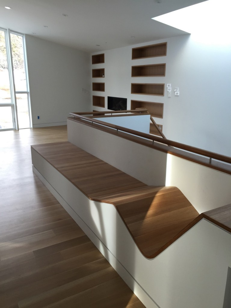 Upstairs bench and bookcase